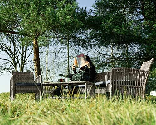 MT MALATEC Polyrattan Gartenmöbel Sitzgruppe Sofa Garnitur Gartenmöbel Gartenset Tisch 11961, Farbe:Grau - 7
