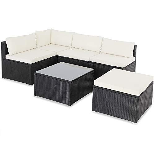 Casaria Poly Rattan XL Lounge Set inkl. 7cm Auflagen und 15cm dicken Kissen Tisch mit Glasplatte frei stellbare Elemente Gartenmöbel Sitzgruppe Schwarz Creme
