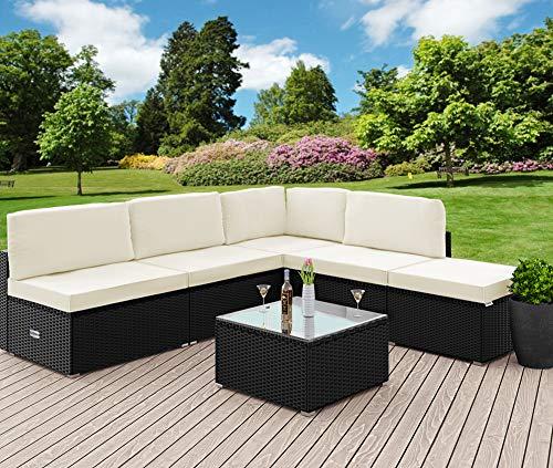 Casaria Poly Rattan XL Lounge Set inkl. 7cm Auflagen und 15cm dicken Kissen Tisch mit Glasplatte frei stellbare Elemente Gartenmöbel Sitzgruppe Schwarz Creme - 2