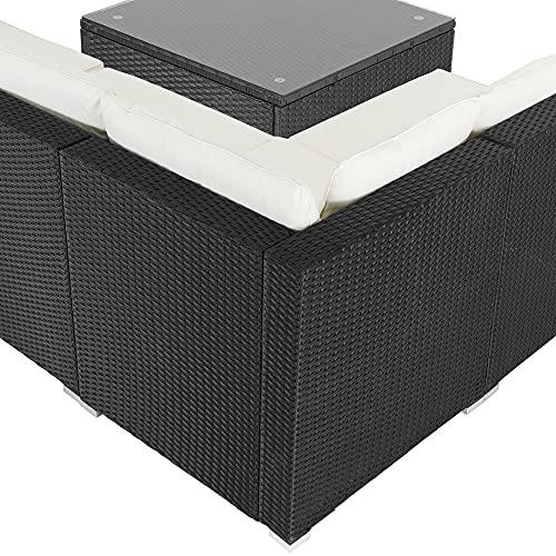 Casaria Poly Rattan XL Lounge Set inkl. 7cm Auflagen und 15cm dicken Kissen Tisch mit Glasplatte frei stellbare Elemente Gartenmöbel Sitzgruppe Schwarz Creme - 4