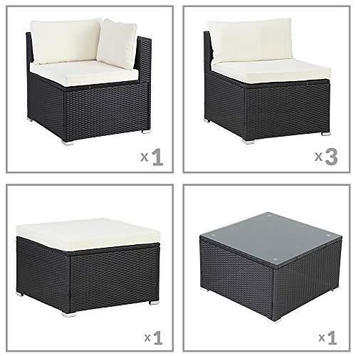 Casaria Poly Rattan XL Lounge Set inkl. 7cm Auflagen und 15cm dicken Kissen Tisch mit Glasplatte frei stellbare Elemente Gartenmöbel Sitzgruppe Schwarz Creme - 7