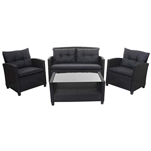 Mendler XXL Poly-Rattan Garnitur HWC-F10, Balkon-/Garten-/Lounge-Set Sitzgruppe, Sofa Sessel mit Kissen Spun Poly - anthrazit