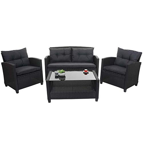 Mendler XXL Poly-Rattan Garnitur HWC-F10, Balkon-/Garten-/Lounge-Set Sitzgruppe, Sofa Sessel mit Kissen Spun Poly – anthrazit - 2