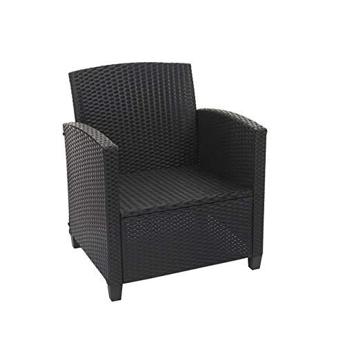 Mendler XXL Poly-Rattan Garnitur HWC-F10, Balkon-/Garten-/Lounge-Set Sitzgruppe, Sofa Sessel mit Kissen Spun Poly – anthrazit - 4