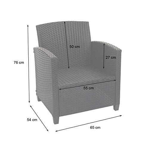 Mendler XXL Poly-Rattan Garnitur HWC-F10, Balkon-/Garten-/Lounge-Set Sitzgruppe, Sofa Sessel mit Kissen Spun Poly – anthrazit - 7