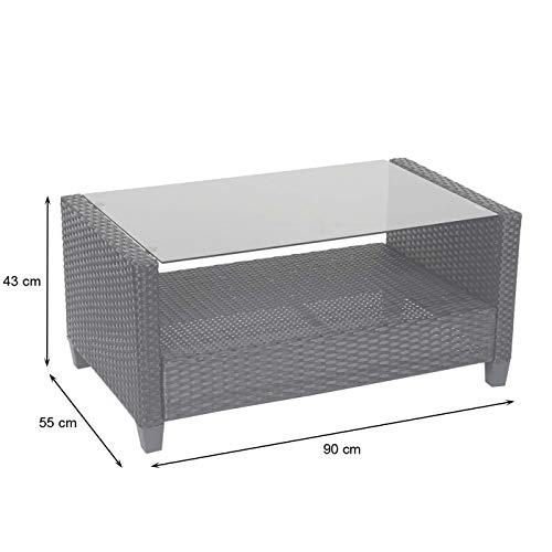 Mendler XXL Poly-Rattan Garnitur HWC-F10, Balkon-/Garten-/Lounge-Set Sitzgruppe, Sofa Sessel mit Kissen Spun Poly – anthrazit - 8