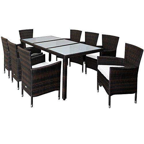 Deuba Poly Rattan Sitzgruppe 8 Stühle Stapelbar 7cm Dicke Auflagen Gartentisch Gartenmöbel Sitzgarnitur Garten Set Braun