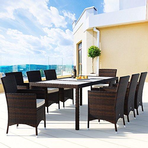 Deuba Poly Rattan Sitzgruppe 8 Stühle Stapelbar 7cm Dicke Auflagen Gartentisch Gartenmöbel Sitzgarnitur Garten Set Braun - 3