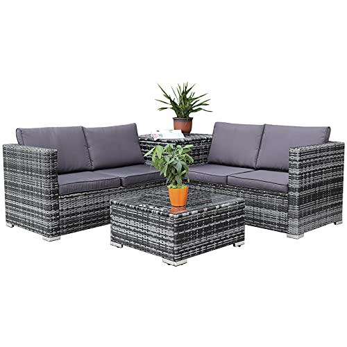 Enjoy Fit Rattan Polyrattan Lounge Sitzgruppe Garnitur Gartenmöbel aus 4 Sitze Sofa, Aufbewahrungsbox für Kissen - 2