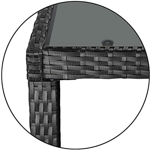 Montafox 17-teilige Polyrattan Garten Essgruppe Terasse Sitzgruppe 8 Personen Gartenmöbel mit Kissen und Bezügen, Farbe:Titan-Schwarz/Kieselstrand - 7