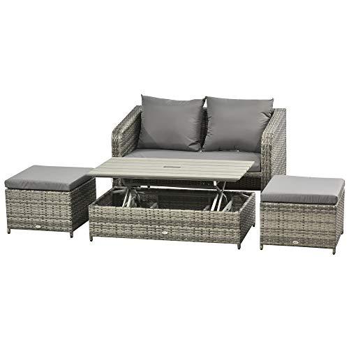 Outsunny Polyrattan Sitzgarnitur 4 TLG. Sitzgruppe Gartenset Doppelsofa mit Hocker Tisch Sofagarnitur Gartenmöbel Set Lounge Grau