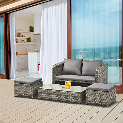 Outsunny Polyrattan Sitzgarnitur 4 TLG. Sitzgruppe Gartenset Doppelsofa mit Hocker Tisch Sofagarnitur Gartenmöbel Set Lounge Grau - 2