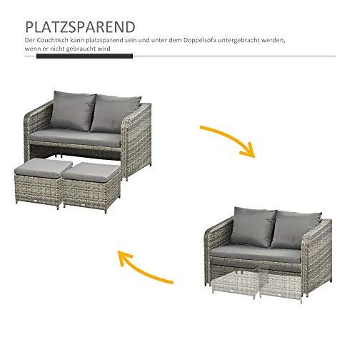 Outsunny Polyrattan Sitzgarnitur 4 TLG. Sitzgruppe Gartenset Doppelsofa mit Hocker Tisch Sofagarnitur Gartenmöbel Set Lounge Grau - 5