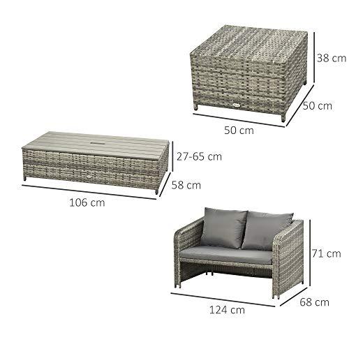 Outsunny Polyrattan Sitzgarnitur 4 TLG. Sitzgruppe Gartenset Doppelsofa mit Hocker Tisch Sofagarnitur Gartenmöbel Set Lounge Grau - 4