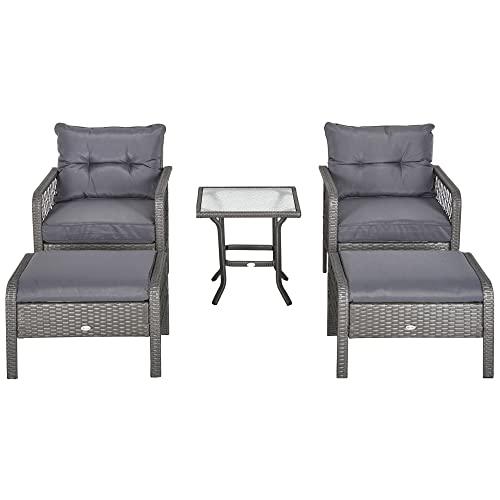 Outsunny Rattan Gartenmöbel für 4 Personen 5-TLG. Outdoor-Sitzgarnitur Sofa mit Hocker Tisch Sitzgruppe Stahl Grau 65 x 55 x 75 cm
