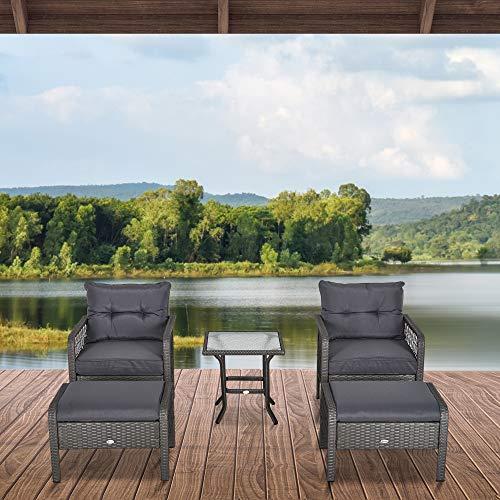 Outsunny Rattan Gartenmöbel für 4 Personen 5-TLG. Outdoor-Sitzgarnitur Sofa mit Hocker Tisch Sitzgruppe Stahl Grau 65 x 55 x 75 cm - 2