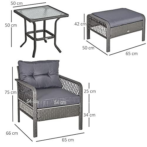 Outsunny Rattan Gartenmöbel für 4 Personen 5-TLG. Outdoor-Sitzgarnitur Sofa mit Hocker Tisch Sitzgruppe Stahl Grau 65 x 55 x 75 cm - 3