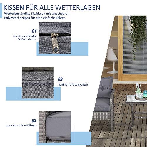Outsunny Rattan Gartenmöbel für 4 Personen 5-TLG. Outdoor-Sitzgarnitur Sofa mit Hocker Tisch Sitzgruppe Stahl Grau 65 x 55 x 75 cm - 4