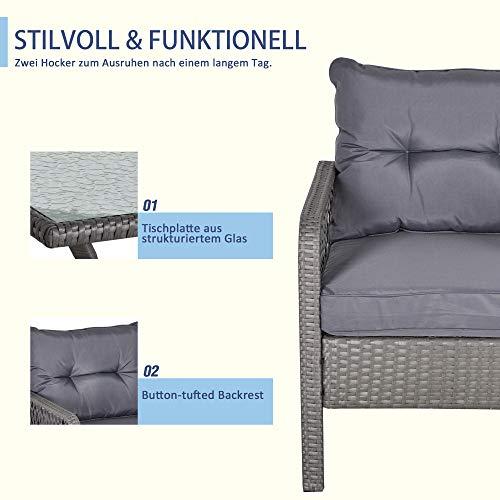 Outsunny Rattan Gartenmöbel für 4 Personen 5-TLG. Outdoor-Sitzgarnitur Sofa mit Hocker Tisch Sitzgruppe Stahl Grau 65 x 55 x 75 cm - 5