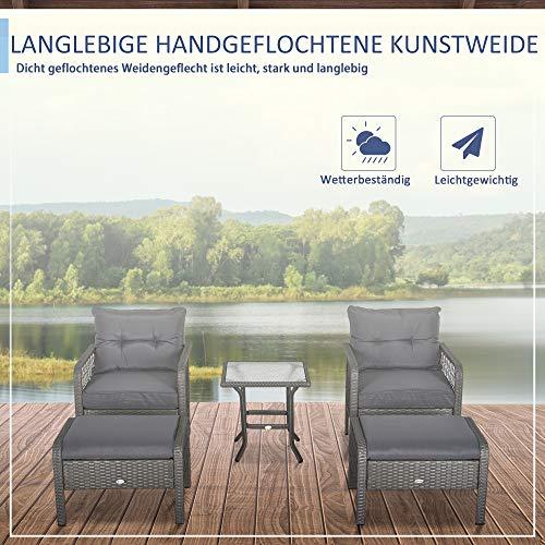 Outsunny Rattan Gartenmöbel für 4 Personen 5-TLG. Outdoor-Sitzgarnitur Sofa mit Hocker Tisch Sitzgruppe Stahl Grau 65 x 55 x 75 cm - 6