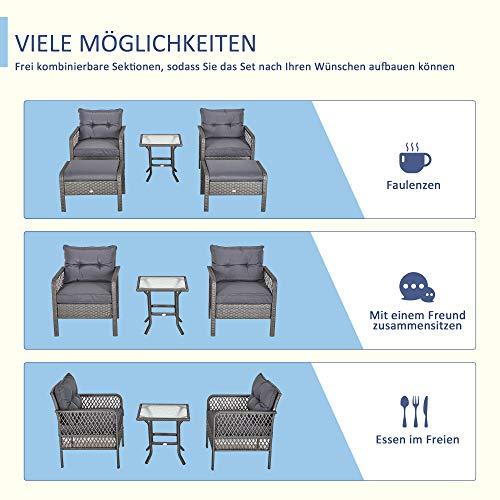 Outsunny Rattan Gartenmöbel für 4 Personen 5-TLG. Outdoor-Sitzgarnitur Sofa mit Hocker Tisch Sitzgruppe Stahl Grau 65 x 55 x 75 cm - 7
