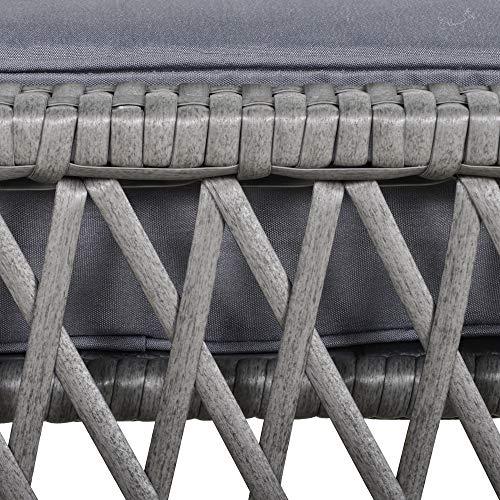 Outsunny Rattan Gartenmöbel für 4 Personen 5-TLG. Outdoor-Sitzgarnitur Sofa mit Hocker Tisch Sitzgruppe Stahl Grau 65 x 55 x 75 cm - 8