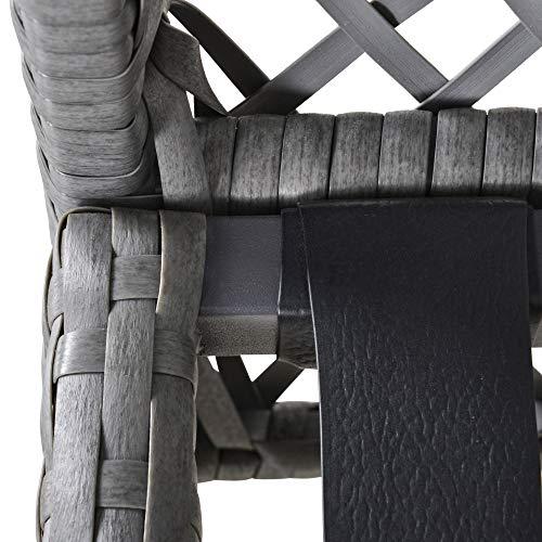 Outsunny Rattan Gartenmöbel für 4 Personen 5-TLG. Outdoor-Sitzgarnitur Sofa mit Hocker Tisch Sitzgruppe Stahl Grau 65 x 55 x 75 cm - 9
