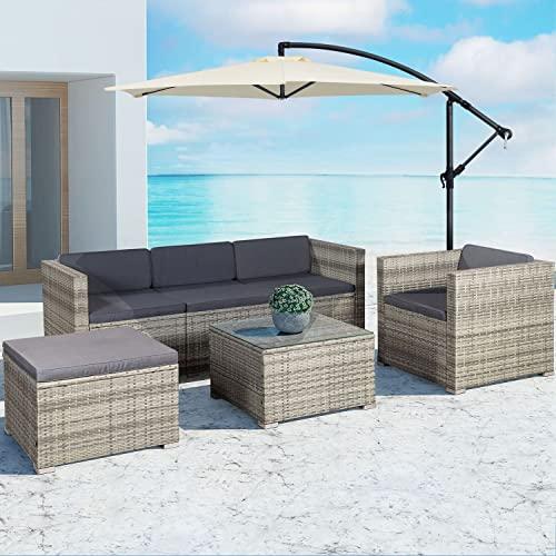 ArtLife Polyrattan Lounge Punta Cana L grau-meliert – Gartenlounge für 4-5 Personen – Gartenmöbel-Set mit Sessel, Sofa, Tisch, Hocker - Bezüge Dunkelgrau - 4