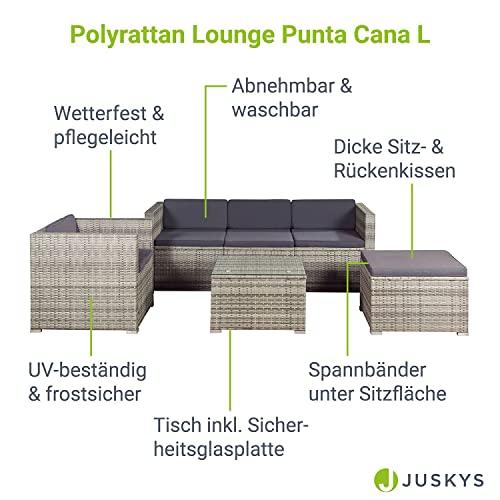 ArtLife Polyrattan Lounge Punta Cana L grau-meliert – Gartenlounge für 4-5 Personen – Gartenmöbel-Set mit Sessel, Sofa, Tisch, Hocker - Bezüge Dunkelgrau - 7