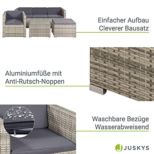 ArtLife Polyrattan Lounge Punta Cana L grau-meliert – Gartenlounge für 4-5 Personen – Gartenmöbel-Set mit Sessel, Sofa, Tisch, Hocker - Bezüge Dunkelgrau - 5