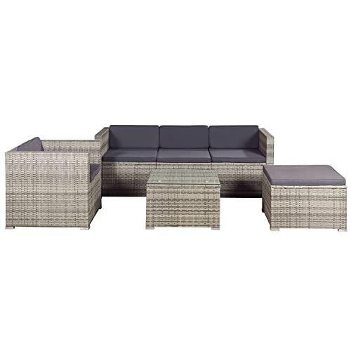 ArtLife Polyrattan Lounge Punta Cana L grau-meliert – Gartenlounge für 4-5 Personen – Gartenmöbel-Set mit Sessel, Sofa, Tisch, Hocker - Bezüge Dunkelgrau - 6