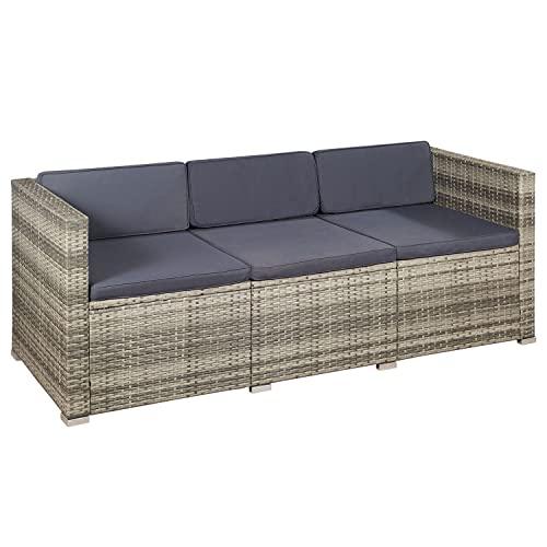 ArtLife Polyrattan Lounge Punta Cana L grau-meliert – Gartenlounge für 4-5 Personen – Gartenmöbel-Set mit Sessel, Sofa, Tisch, Hocker – Bezüge Dunkelgrau - 8