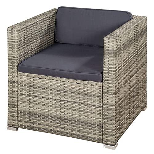 ArtLife Polyrattan Lounge Punta Cana L grau-meliert – Gartenlounge für 4-5 Personen – Gartenmöbel-Set mit Sessel, Sofa, Tisch, Hocker – Bezüge Dunkelgrau - 9