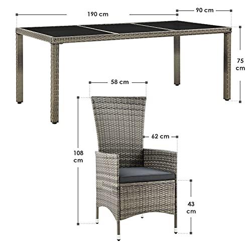 ArtLife Polyrattan Sitzgruppe Rimini Plus 9-teilig grau-meliert   Gartenmöbel Set mit Tisch, 8 Stühlen & Kissen   graue Bezüge   Rattan Balkonmöbel - 2