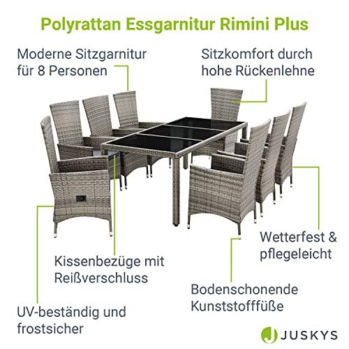 ArtLife Polyrattan Sitzgruppe Rimini Plus 9-teilig grau-meliert   Gartenmöbel Set mit Tisch, 8 Stühlen & Kissen   graue Bezüge   Rattan Balkonmöbel - 3