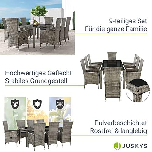 ArtLife Polyrattan Sitzgruppe Rimini Plus 9-teilig grau-meliert   Gartenmöbel Set mit Tisch, 8 Stühlen & Kissen   graue Bezüge   Rattan Balkonmöbel - 4
