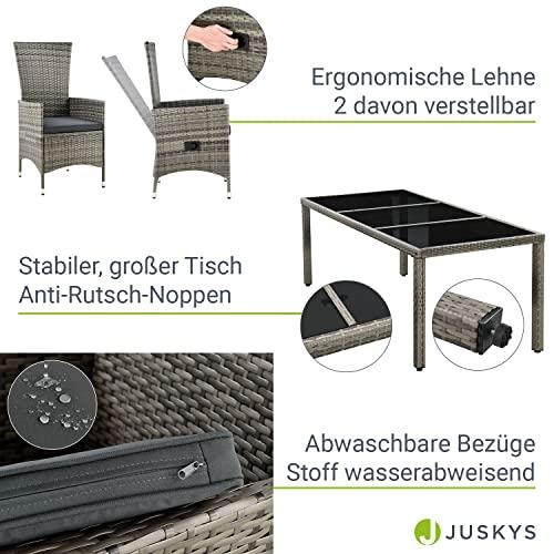 ArtLife Polyrattan Sitzgruppe Rimini Plus 9-teilig grau-meliert   Gartenmöbel Set mit Tisch, 8 Stühlen & Kissen   graue Bezüge   Rattan Balkonmöbel - 5