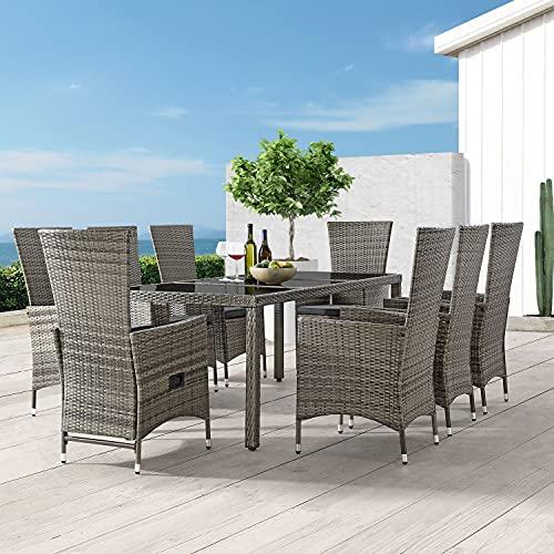 ArtLife Polyrattan Sitzgruppe Rimini Plus 9-teilig grau-meliert   Gartenmöbel Set mit Tisch, 8 Stühlen & Kissen   graue Bezüge   Rattan Balkonmöbel - 6