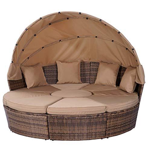 BRAST Poly Rattan Sonneninsel Braun/Cappuccino Ø210cm incl. Abdeckung + LEDs Garten Liege Insel Gartenmöbel Lounge Sitzgruppe 3 Farben - 9