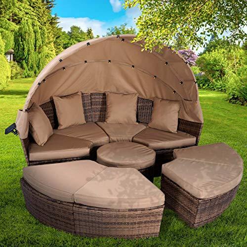 BRAST Poly Rattan Sonneninsel Braun/Cappuccino Ø210cm incl. Abdeckung + LEDs Garten Liege Insel Gartenmöbel Lounge Sitzgruppe 3 Farben - 8