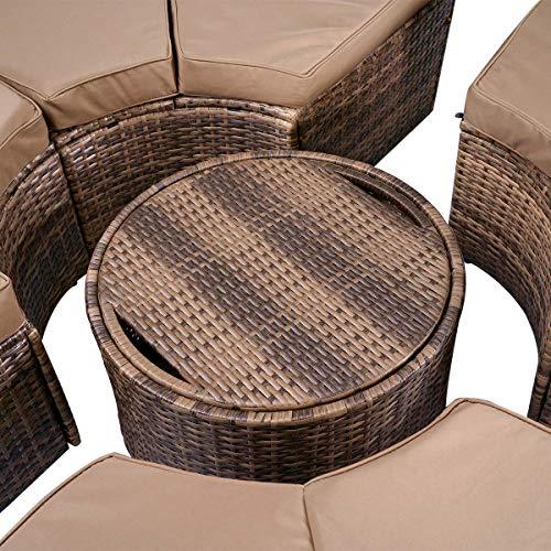 BRAST Poly Rattan Sonneninsel Braun/Cappuccino Ø210cm incl. Abdeckung + LEDs Garten Liege Insel Gartenmöbel Lounge Sitzgruppe 3 Farben - 7