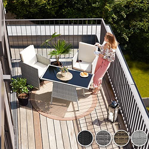 TecTake 800682 Polyrattan Sitzgruppe für 2 Personen, zusammenschiebbar, 2 Stühle & 1 Tisch mit Glasplatte, inkl. Sitz- und Rückenkissen – Diverse Farben – (Grau | Nr. 403097) - 3