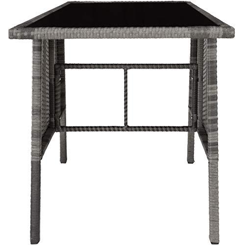 TecTake 800682 Polyrattan Sitzgruppe für 2 Personen, zusammenschiebbar, 2 Stühle & 1 Tisch mit Glasplatte, inkl. Sitz- und Rückenkissen – Diverse Farben – (Grau | Nr. 403097) - 8