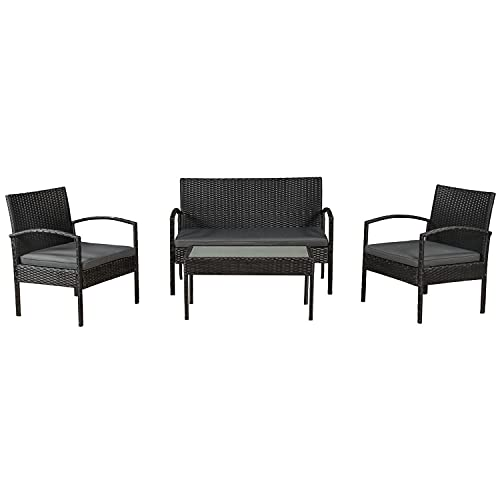 ArtLife Polyrattan Sitzgruppe Trinidad - Gartenmöbel Set mit Bank, Sessel & Tisch für 4 Personen - schwarz mit grauen Bezüge - Terrassenmöbel Balkonmöbel Lounge