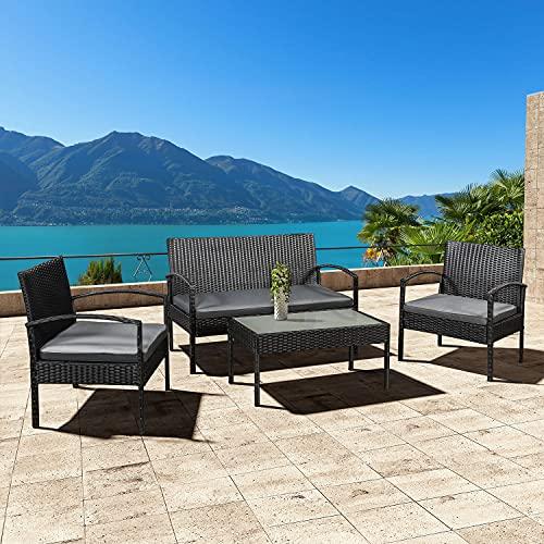 ArtLife Polyrattan Sitzgruppe Trinidad – Gartenmöbel Set mit Bank, Sessel & Tisch für 4 Personen – schwarz mit grauen Bezüge – Terrassenmöbel Balkonmöbel Lounge - 3