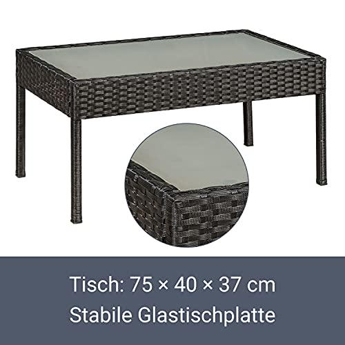 ArtLife Polyrattan Sitzgruppe Trinidad – Gartenmöbel Set mit Bank, Sessel & Tisch für 4 Personen – schwarz mit grauen Bezüge – Terrassenmöbel Balkonmöbel Lounge - 7