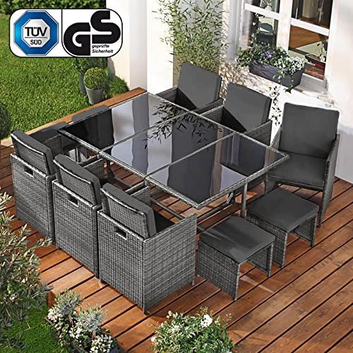 BRAST Poly-Rattan Gartenmöbel Essgruppe Lounge Sitzgruppe Camouflage Deluxe 11tlg Grau/Anthrazit inkl. Abdeckung - 2