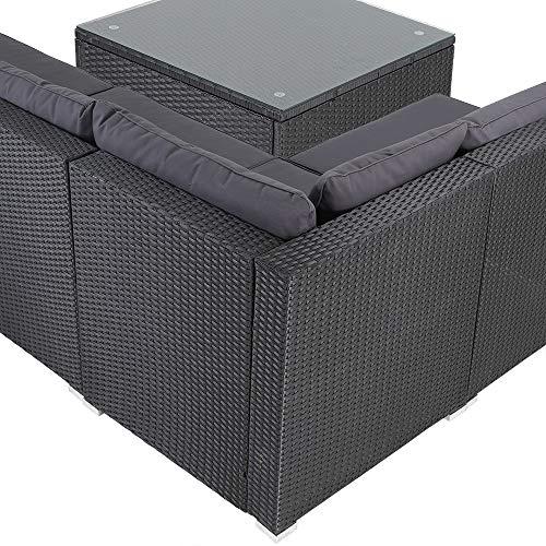 Casaria Poly Rattan XXL Lounge Set inkl. 7cm Auflagen und 15cm dicken Kissen Tisch mit Glasplatte frei stellbare Elemente Gartenmöbel Sitzgruppe Schwarz Grau - 3