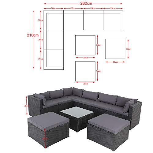 Casaria Poly Rattan XXL Lounge Set inkl. 7cm Auflagen und 15cm dicken Kissen Tisch mit Glasplatte frei stellbare Elemente Gartenmöbel Sitzgruppe Schwarz Grau - 8