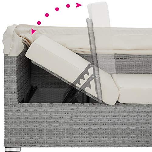 TecTake 800771 Aluminium Poly Rattan Lounge Set, 16-teilig, wetterfest, Garten Sofa mit Sonnendach, Outdoor Sitzgruppe inkl. Kissen und Beistelltisch – Diverse Farben – (Hellgrau | Nr. 403712) - 7